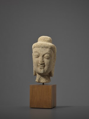 Lot 576 - A RARE SANDSTONE HEAD OF BUDDHA, NORTHERN WEI DYNASTY, 5TH-6TH CENTURY