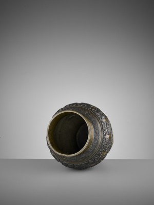Lot 12 - AN ARCHAISTIC BRONZE BALUSTER VASE, 17TH CENTURY
