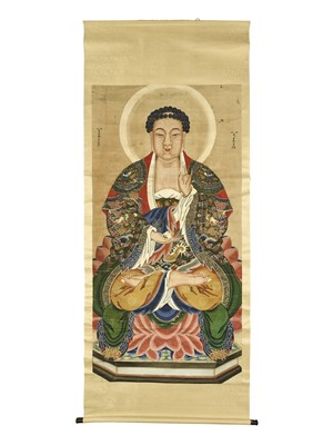Lot 464 - A PAINTING OF BUDDHA, QING