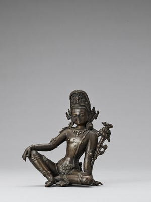 Lot 562 - A NEPALESE BRONZE FIGURE OF INDRA, 18th-19th CENTURY