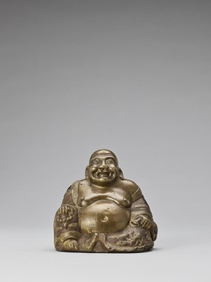 Lot 585 - A BRONZE ALLOY REPOUSSÉ FIGURE OF BUDAI, QING