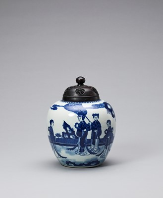 Lot 384 - A BLUE AND WHITE GINGER JAR, QING