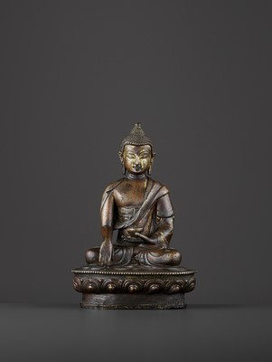 Lot 587 - A BRONZE BUDDHA SHAKYMUNI