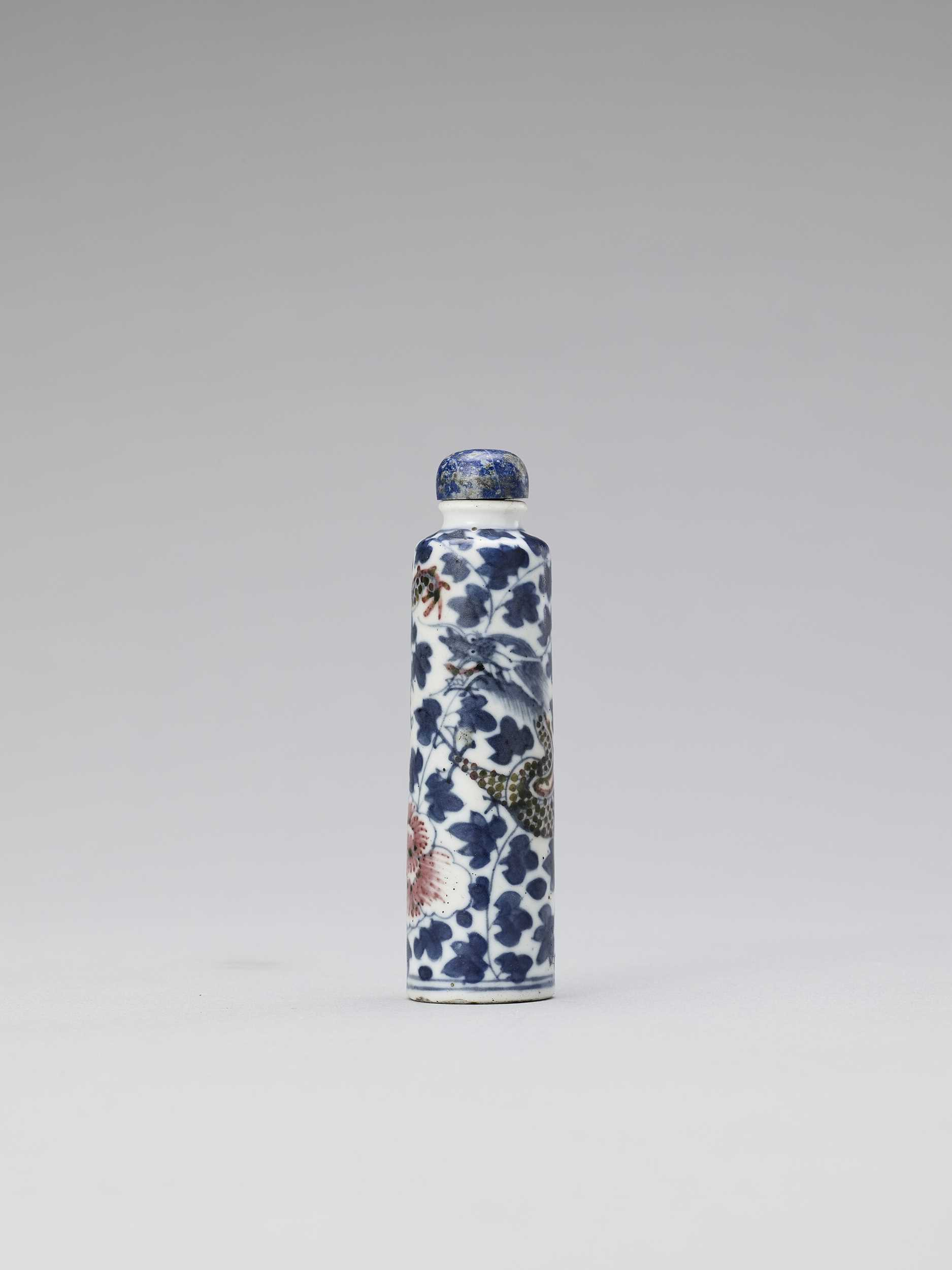 A DRAGON PORCELAIN SNUFF BOTTLE, QING