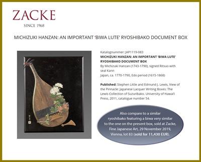 Lot 93 - OGAWA HARITSU (RITSUO): A FINE CERAMIC AND LACQUER INLAID KIRI WOOD RYOSHIBAKO (DOCUMENT BOX) AND COVER WITH BUGAKU ACCOUTREMENTS