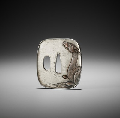 Lot 36 - A SILVERED TSUBA WITH A RECUMBENT DEER