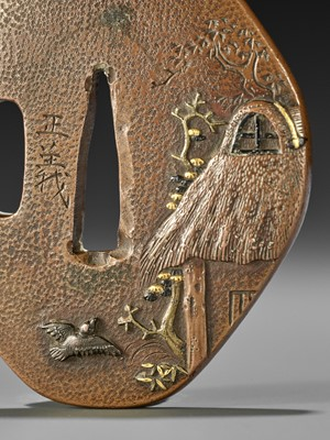 Lot 29 - MASAYOSHI: A FINE COPPER TSUBA WITH SPARROWS AND THATCHED HUT