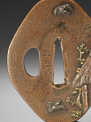 Lot 33 - MASAYOSHI: A FINE COPPER TSUBA WITH SPARROWS AND THATCHED HUT