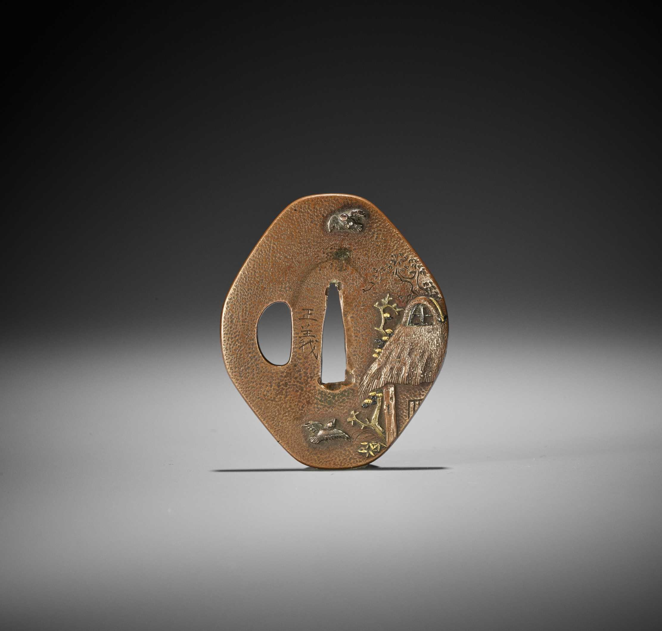 MASAYOSHI: A FINE COPPER TSUBA WITH SPARROWS AND THATCHED HUT