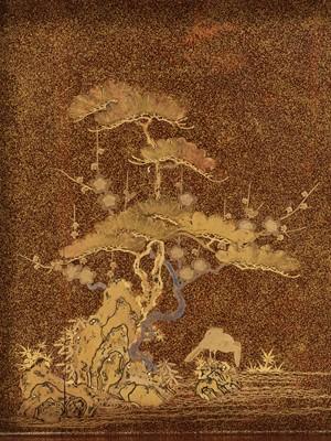 Lot 103 - A FINE LACQUER SUZURIBAKO WITH A COCKEREL, HEN AND SHOCHIKUBAI