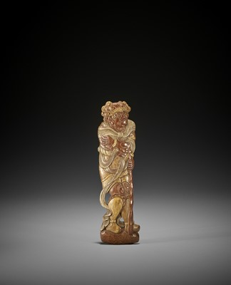 Lot 175 - NAGIGAWA TESSO: A BAMBOO SASHI NETSUKE OF A HEAVENLY GENERAL, DATED 1937