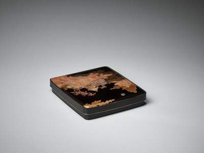 Lot 97 - A SUPERB SILVER-MOUNTED INLAID LACQUER SUZURIBAKO WITH A LANDSCAPE