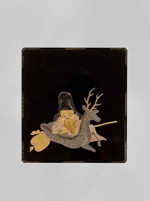 Lot 102 - A LACQUER SUZURIBAKO WITH JUROJIN AND DEER