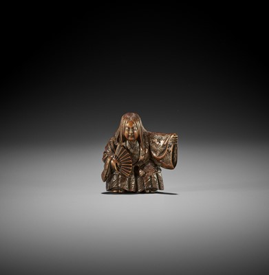 Lot 187 - MINKOKU: A WOOD NETSUKE OF A DANCING SHOJO