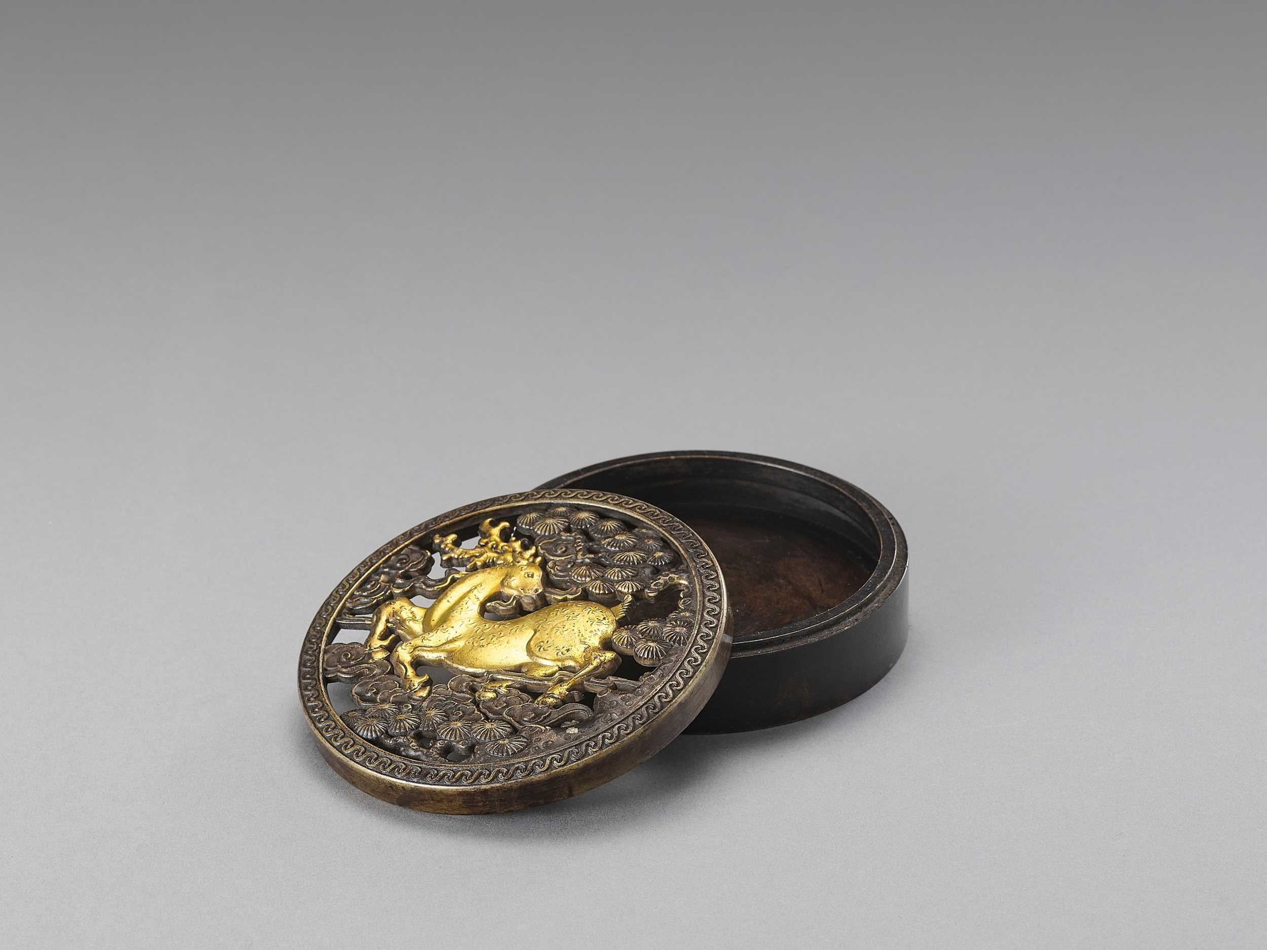 Lot 539 - A PARCEL GILT 'STAG AND PINE' INCENSE BOX, LATE QING TO REPUBLIC
