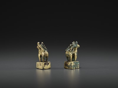 Lot 509 - A PAIR OF GILT BRONZE 'STAG' SEALS, EASTERN HAN