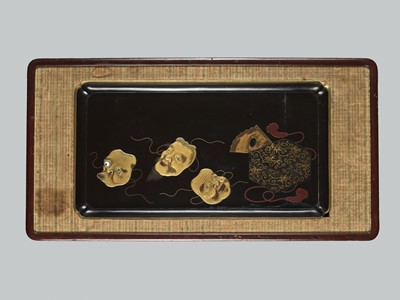 A LARGE LACQUER TRAY MOUNTED AS A WALL PANEL