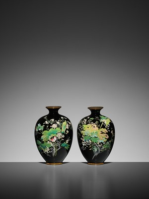 Lot 58 - A PAIR OF SMALL CLOISONNÉ VASES
