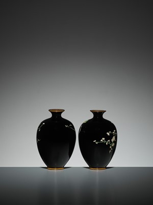 Lot 68 - A PAIR OF SMALL CLOISONNÉ VASES
