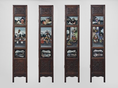 A HARDWOOD AND REVERSE GLASS PAINTED FOUR-PANEL SCREEN, QING