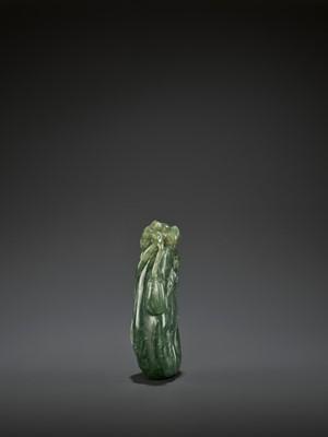 Lot 42 - A DARK GREEN JADEITE 'MELON' SOLIFLORE VASE, QING