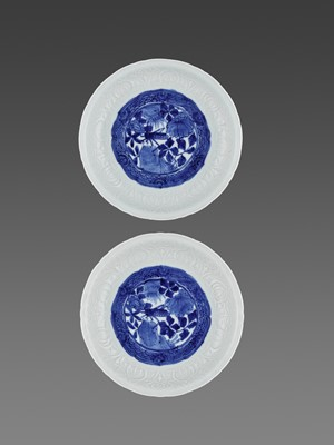 Lot 195 - A PAIR OF BLUE AND WHITE PORCELAIN 'GRASSHOPPER' DISHES, WANLI