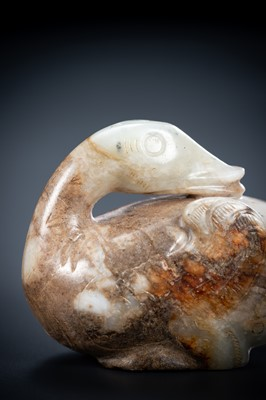 A FINE CELADON ANR RUSSET JADE 'GOOSE' CARVING, LATE SONG TO MING DYNASTY