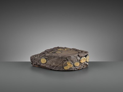 Lot 33 - A MASSIVE CARVED 'MELON' DUAN INKSTONE, EARLY QING
