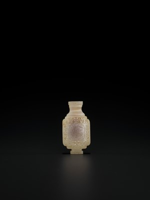 Lot 102 - A WHITE AND RUSSET JADE MINIATURE ARCHAISTIC VASE, LATE MING TO MID-QING
