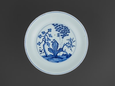 Lot 193 - A BLUE AND WHITE 'THREE FRIENDS OF WINTER' DISH, KANGXI