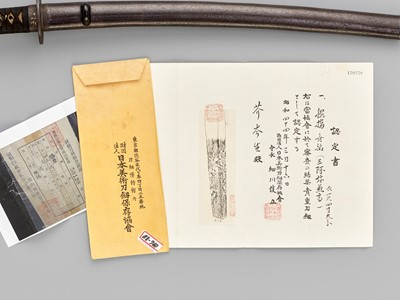 Lot 59 - A WAKIZASHI IN KOSHIRAE, THE BLADE ATTRIBUTED TO SAN'AMI KANETAKA, WITH NBTHK CERTIFICATE