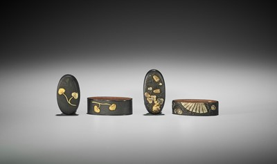 Lot 51 - TWO FUCHI AND KASHIRA WITH AOI LEAVES