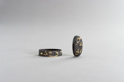 Lot 55 - A FINE FUCHI AND KASHIRA WITH GEESE AND MOON