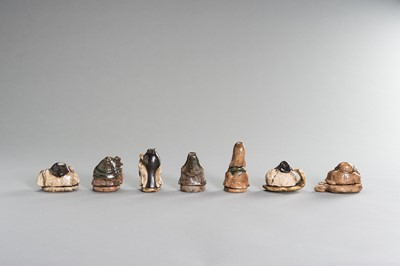Lot 186 - A SET OF SEVEN LUCKY GODS IN WOODEN BOX
