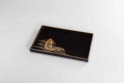 Lot 202 - A LARGE LACQUER TRAY WITH CARP