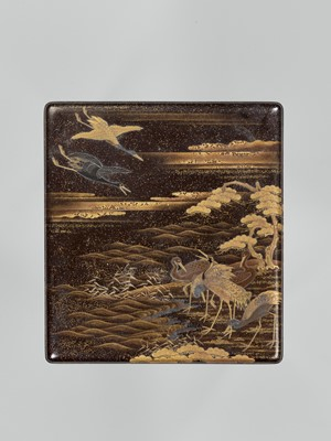 Lot 99 - A LACQUER SUZURIBAKO DEPICTING CRANES, WITH WRITING UTENSILS
