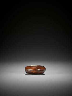 A CHARMING INLAID WOOD MANJU NETSUKE WITH RATS AND KAGAMI-MOCHI