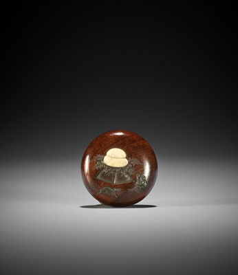 A CHARMING INLAID WOOD MANJU NETSUKE WITH RATS AND KAGAMI-MOCHI