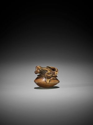 Lot 92 - MASANAO: A VERY RARE WOOD NETSUKE OF A MERMAID AS A CLAM DIVER