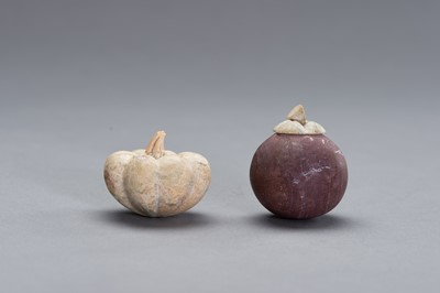 Lot 525 - TWO STONE CARVINGS OF FRUITS