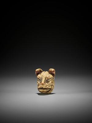 Lot 284 - MITSUNOBU: A MASTERFUL LACQUERED WOOD MASK NETSUKE OF A FOX (KITSUNE)