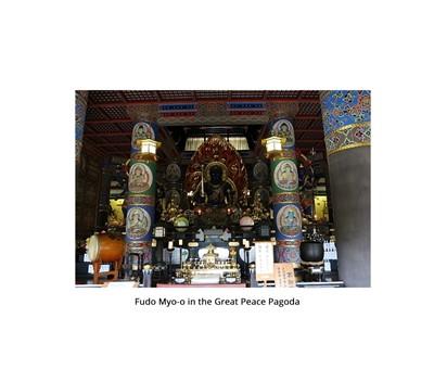 Lot 94 - A SATSUMA STYLE CERAMIC FIGURE OF FUDO MYO-O AND ACOLYTES