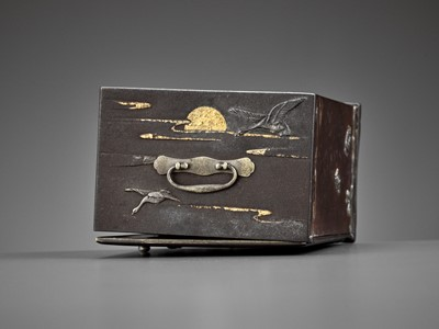 Lot 8 - AN EXCEPTIONALLY RARE INLAID IRON MINIATURE KODANSU (CABINET) WITH TURTLES AND CRANES
