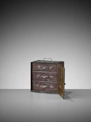 Lot 3 - AN EXCEPTIONALLY RARE INLAID IRON MINIATURE KODANSU (CABINET) WITH TURTLES AND CRANES