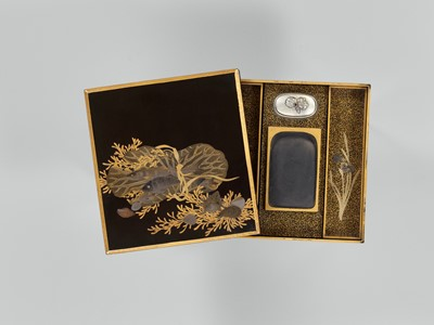 Lot 104 - A LACQUER SUZURIBAKO WITH FISH WRAPPED IN LOTUS LEAF