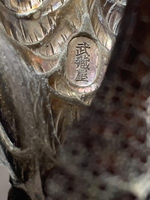 Lot 9 - MUSASHIYA: A FINE AND RARE SILVERED OKIMONO OF A PAIR OF CRANES