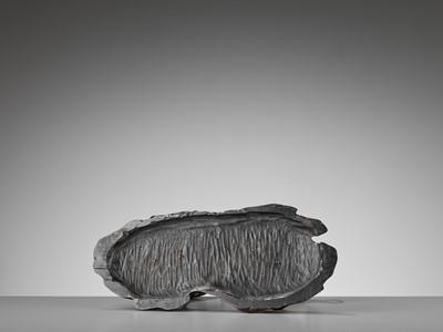 Lot 4 - MUSASHIYA: A FINE AND RARE SILVERED OKIMONO OF A PAIR OF CRANES