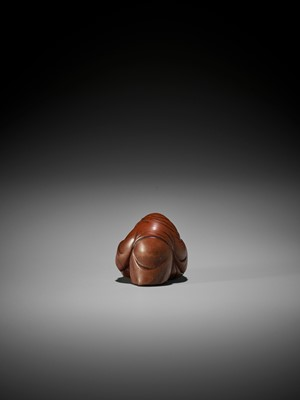 Lot 153 - OTOMAN: A MASTERFUL WOOD NETSUKE OF HOTEI WITH TWO CHILDREN