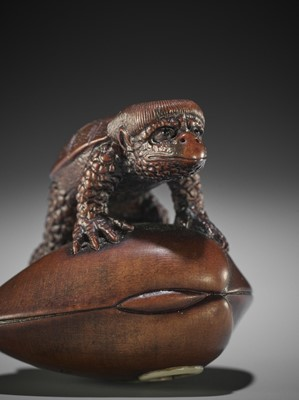 Lot 148 - SUKEHARU: A FINE WOOD NETSUKE OF A KAPPA ON CLAM