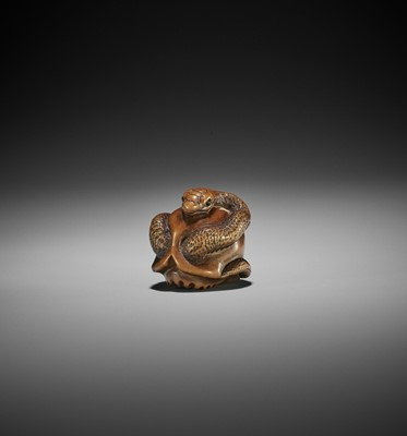 Lot 99 - MASAMITSU: A WOOD NETSUKE OF SNAKE AND SKULL